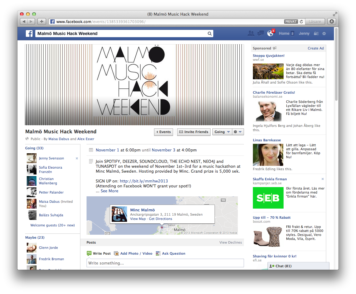 Malmö Music Hack Weekend Facebook event coverphoto