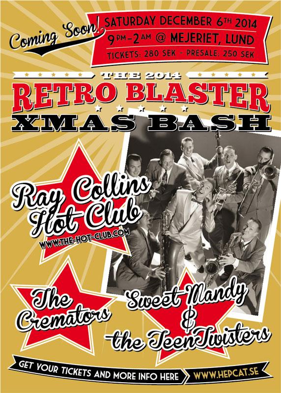 Club HepCat Retro Blaster Xmas-bash affisch 2014